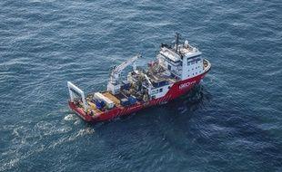 Le Geo Ocean III, navire du Bureau britannique d'enquête sur les accidents aériens, sur les traces de l'épave de l'avion qui transportait Emiliano Sala.