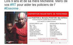 Le 18 mai 2017, la police nationale a lancé un appel à témoins à la suite de la disparition d'une mère et son fils en Essonne.