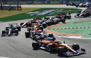 Le pilote australien Daniel Ricciardo (McLaren) lors du Grand Prix de Formule 1 d'Italie, sur le circuit de Monza, le dimanche 12 septembre 2021.