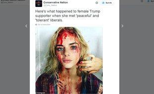 Capture écran du compte Twitter de Conservative Nation   @Cons_Nation, le 6 juin 2016, sur une agression qui n'en était pas une.