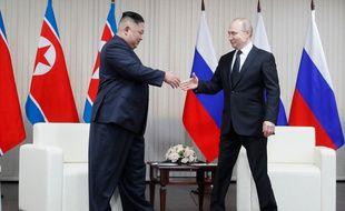 Le président russe Vladimir Poutine et le leader nord-coréen Kim Jong-un à Vladivostok, le 25 April 2019.