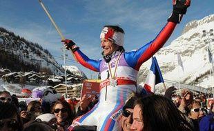 Le skieur français Julien Lizeroux, médaillé d'argent en slalom aux championnats du monde de Val d'isère, le 15 février 2009.