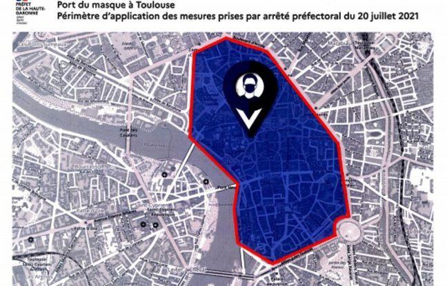 La zone ou le port du masque est obligatoire à Toulouse depuis le 20 juillet.