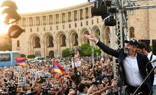 Nikol Pashinyan, leader de l'opposition, lors d'un rassemblement à Erevan, le 30 avril 2018.