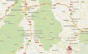Capture d'écran d'une Google map d'Yssingeaux, en Haute-Loire.