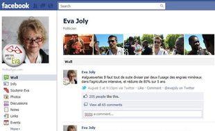 La page Facebook d'Eva Joly.