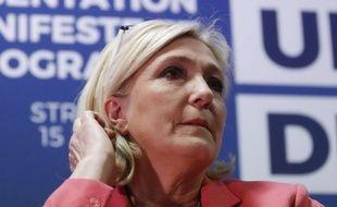 Marine Le Pen, le 15 avril 2019, lors d'une conférence de presse à Strasbourg.