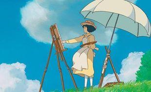 Détail de l'affiche japonaise du film «Le vent se lève, il faut tenter de vivre» d?Hayao Miyazaki.