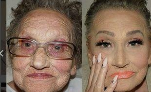 A 80 ans, Livia est le modèle préféré de sa petite-fille, une maquilleuse professionnelle qui maîtrise l'art du contouring.