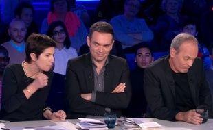 Christine Angot, Yann Moix et Laurent Baffie sur le plateau d'«On n'est pas couché».