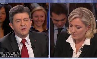 Jean-Luc Mélenchon face à Marine Le Pen sur le plateau de DPDA.