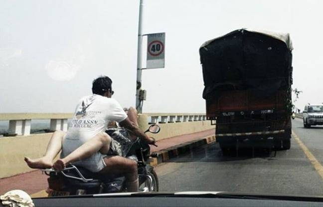 La «moto de l'amour», dans l'Etat de Goa, en Inde.