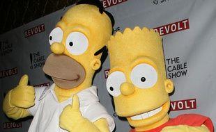 Homer et Bart Simpson à Los Angeles.