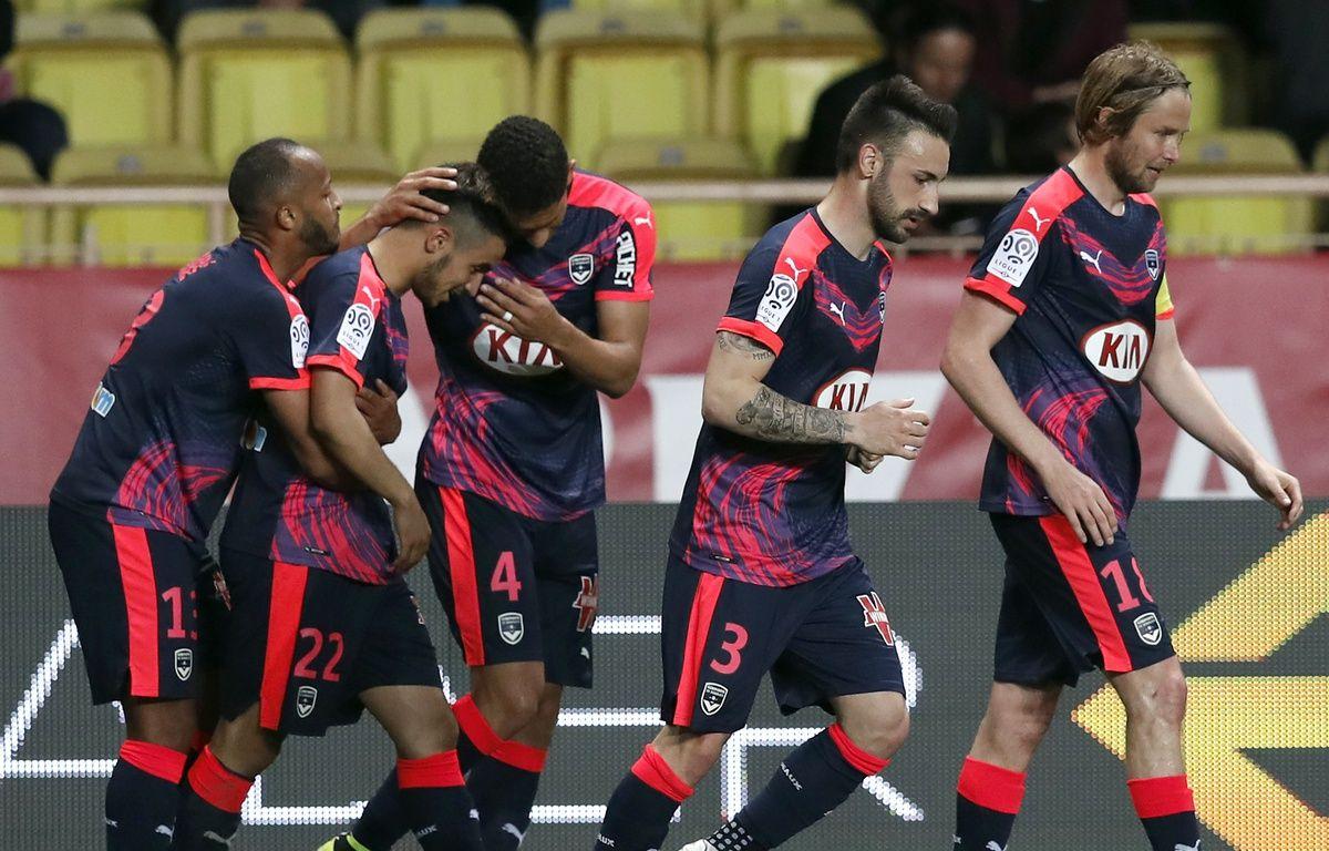 Les Girondins fêtent un but inscrit par Adam Ounas à Monaco le 1er avril 2016. – AFP