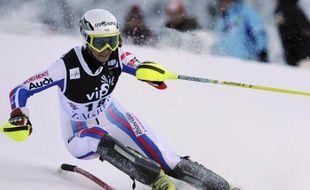 La skieuse française Sandrine Aubert, lors du slalom de Zagreb, le 4 janvier 2009.