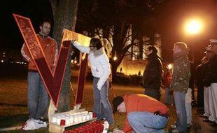 Hommage aux victimes du massacre sur le campus de Virginia Tech, aux Etats-Unis.