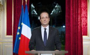 François Hollande lors de ses voeux de la Saint-Sylvestre du 3& décembre 201é