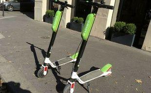 Les trottinettes électriques Lime, en accès libre dans les rues de Paris depuis juin 2018.