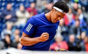 Jo-Wilfried Tsonga lors de la demi-finale de Coupe Davis France-Serbie, le 15 septembre 2017 à Lille.