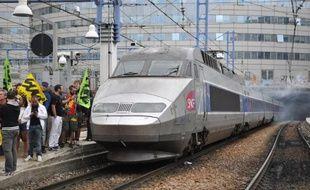 Des cheminots grévistes devant un train TGV à la gare Montparnasse à Paris, le 17 juin 2014. (Photo illustration)