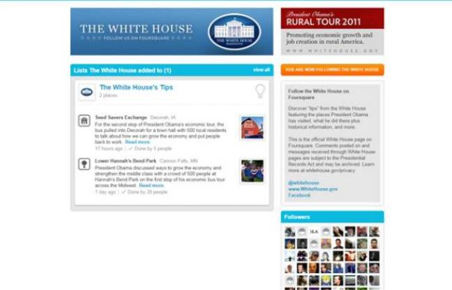 La page Foursquare de la Maison Blanche.