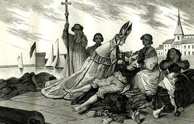 Monseigneur de Belsunce au milieu des pestiférés.