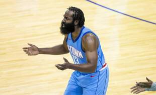 Houston Rockets guard James Harden (13) reacts to a call during the team's NBA basketball game against the Los Angeles Lakers on Tuesday, Jan. 12, 2021, in Houston. (Mark Mulligan/Houston Chronicle via AP)/TXHOU336/21013087239085/MANDATORY CREDIT/2101130335