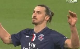 Zlatan Ibrahimovic après son 3e but lors de PSG-Lorient (3-1), le 20 mars 2015.