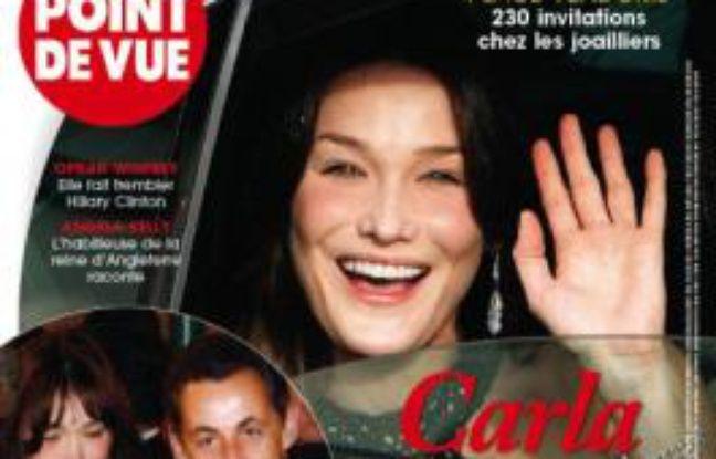 La Une de Point de vue montrant Nicolas Sarkozy et Carla Bruni ensemble à Disneyland Paris