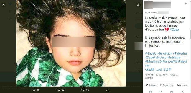Cette fillette vit en Russie et non à Gaza.