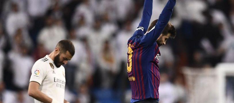 Le Barça de Piqué l'a emporté sur la pelouse du Real Madrid de Benzema (0-1), le 2 mars 2019 en Liga.