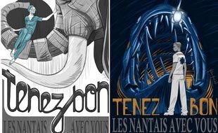 Deux dessins de Mathieu HAAS, illustrateur nantais, en hommage aux professionnels mobilisés contre le coronavirus
