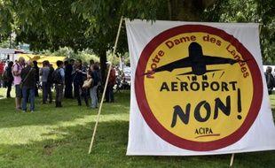 Des opposants à l'aéroport Notre-Dame-des-Landes manifestent près de la cour administrative d'appel de Nantes, le 18 juin 2015