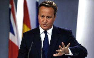 David Cameron a tenu une conférence de presse avec son homologue espagnol Mariano Rajoy à Madrid vendredi 4 septembre 2015.