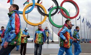 Les anneaux olympiques de Sotchi, le 5 février 2014.