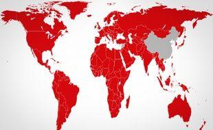 Netflix est désormais disponible dans tous les pays du monde sauf la Chine, la Crimée, la Corée du Nord et la Syrie.