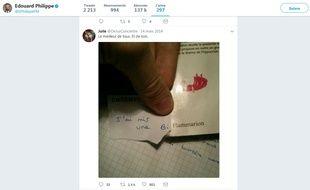 Le tweet liké par Edouard Philippe sur la bifle.