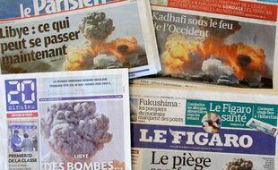 La même photo a fait la une des quotidiens français, lundi 21 mars 2011.