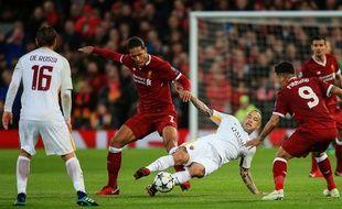 Liverpool a battu l'AS Rome 5-2 en demi-finale aller de Ligue des champions, le 25 avri 2018 à Anfield.