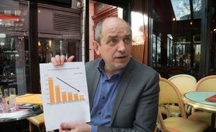 L'économiste et homme politique Pierre Larrouturou, grand fan des graphiques et autres schémas gribouillés sur son cahier pour expliquer son Plan Finance Climat.