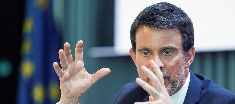Manuel Valls lors d'un colloque à Madrid, le 19 avril 2018.