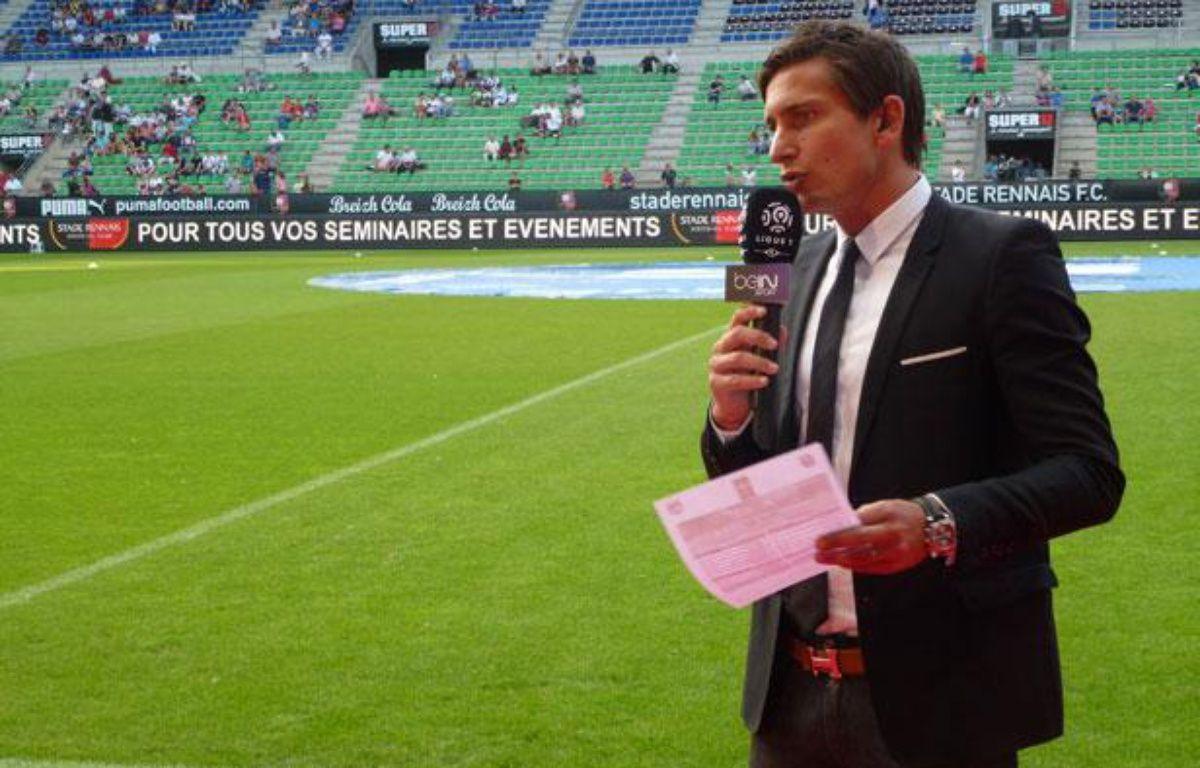 Le journaliste de BeIn Sport Xavier Domergue avant la rencontre Rennes-Lyon (samedi 11 août 2012). – J. GICQUEL / APEI / 20 MINUTES