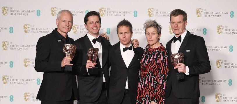 L'équipe de «3 Billboards» Martin McDonagh, Pete Czernin, Sam Rockwell, Frances McDormand et Graham Broadbent, aux Bafta le 18 février 2018.