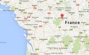 Google map de Saint-Maur, dans l'Indre.