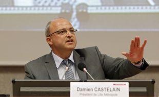 Damien Castelain, lors de son élection à la présidence de La Métropole de Lille,, en avril 2014.