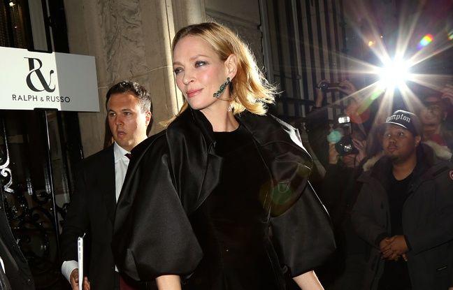Uma Thurman à la Paris Fashion week en janvier 2016.
