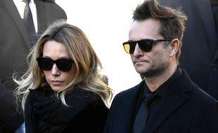 Laura Smet et David Hallyday aux obsèques de Johnny Hallyday à l'église de la Madeleine, le 9 décembre 2017.