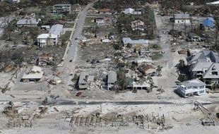 Vue aérienne des dégâts causés par l'ouragan Michael à Mexico Beach, en Floride, le 11 octobre 2018.
