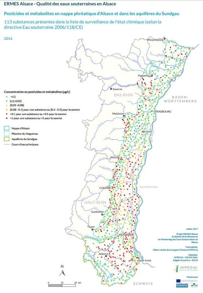 La carte des mesures de pesticides effectuées en Alsace sur la nappe phréatique dans le cadre de cette étude.
