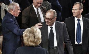 L'ancien président Jacques Chirac (au centre) le 21 novembre 2014 à Paris.